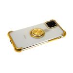 Силиконовый чехол Samsung Galaxy A50 прозрачный антишок с блестящим кольцом, золото