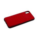 Силиконовый чехол Iphone XR 6.1 тканевый с изогнутыми линиями, красный