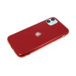 Силиконовый чехол Iphone 11 Pro утолщенный-глянцевый, блестящий борт с лого, бордовый