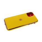 Силиконовый чехол Samsung Galaxy A10s утолщенный-глянцевый, блестящий борт с лого, желтый
