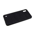 Силиконовый чехол Huawei Honor 9X волнистый под кожу, глянцевый, черный