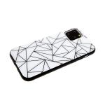 Задняя крышка Xiaomi Redmi 7 эффект стекла, черно-белый принт, геометрия белая