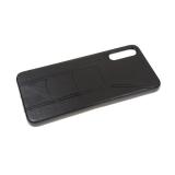 Силиконовый чехол Huawei Honor 9s эко-кожа с изогнутой строчкой, черный