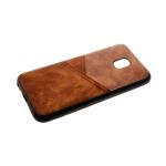 Силиконовый чехол Samsung J250 Galaxy J2 2018 комбинированная эко-кожа, темно-коричневый