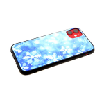 Задняя крышка Huawei Y5 2018 яркий принт, битое стекло, снежинки на голубом