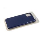 Силиконовый чехол Samsung Galaxy A20s бархат внутри без логотипа, в блистере, темно-синий
