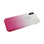 Силиконовый чехол Samsung Galaxy A20s блестки с переходом, розовый