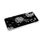 Силиконовый чехол Samsung Galaxy A50 цветы с золот крошк, прозрачный борт, одуванчики с птичками