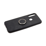 Силиконовый чехол Samsung Galaxy A20s эко-кожа с держателем, низ клетка, черный