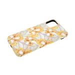 Силиконовый чехол Iphone 11 Pro фосфорно-тактильный с рисунком, оранжевые цветы