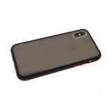 Задняя крышка Samsung Galaxy M21 матово-прозрачная с силиконовым бортом, черный
