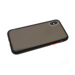 Задняя крышка Xiaomi Redmi Note 9 матово-прозрачная с силиконовым бортом, черная