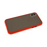 Задняя крышка Samsung Galaxy M21 матово-прозрачная с силиконовым бортом, красный