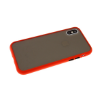 Чехол для Samsung Galaxy M21 матово-прозрачная с силиконовым бортом, красный