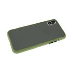 Задняя крышка Iphone XS Max 6.5 матово-прозрачная с силиконовым бортом, оливковая