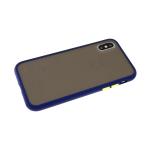 Задняя крышка Xiaomi Redmi Note 9 матово-прозрачная с силиконовым бортом, темно-синяя