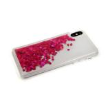 Силиконовый чехол Xiaomi Redmi 8a плавающие сердечки, малиновые