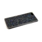 Силиконовый чехол Samsung Galaxy A30s поверхность из страз, прозарчный борт, серый