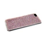 Силиконовый чехол Samsung Galaxy A20s поверхность из страз, прозарчный борт, светло-розовый