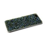 Силиконовый чехол Samsung Galaxy A30s поверхность из страз, прозарчный борт, зеленый