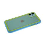 Задняя крышка Samsung Galaxy A71 прозрачная с цветной окантовкой, голубо-салатовая