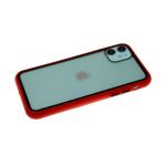 Задняя крышка Samsung Galaxy A71 прозрачная с цветной окантовкой, черно-красная