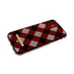 Задняя крышка Iphone 11 Pro шахматная доска из страз, борт из страз, красная