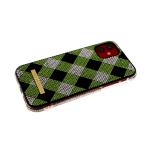 Задняя крышка Iphone 11 Pro шахматная доска из страз, борт из страз, салатовая