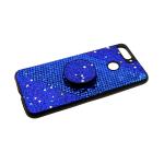 Силиконовый чехол Huawei Y5 2019 шероховатая поверхность, блестки+попсокет, синий