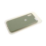Силиконовый чехол Samsung Galaxy A20s Soft touch с серебристым лого, в блистере, оливковый