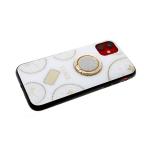 Задняя крышка Iphone 11 Pro Стеклянная со стразами, с кольцом Time, бежевая