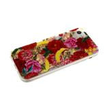 Силиконовый чехол Xiaomi Redmi 7a жидкие золотые блестки с бусинками, красн и розовые розы