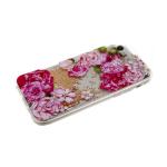 Силиконовый чехол Xiaomi Redmi 7a жидкие золотые блестки с бусинками, розовые цветы