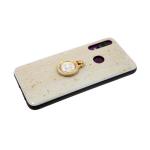 Задняя крышка Huawei Y5 2019 золотая фольга, кольцо со стразами, бежевая