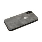 Силиконовый чехол Samsung Galaxy A20s дымчатая эко-кожа с серебристым логотипом, серый