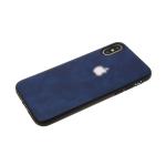 Силиконовый чехол Samsung Galaxy A20s дымчатая эко-кожа с серебристым логотипом, темно-синий