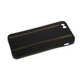 Силиконовый чехол Huawei Y5 2019 эко-кожа с цветными прострочками, черный