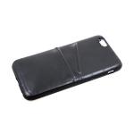 Силиконовый чехол Iphone XS Max 6.5 эко-кожа, утолщенный с двумя карманами, в блистере, черный