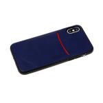 Силиконовый чехол Xiaomi Redmi 7 Monarch, кожанный с кармашком, темно-синий