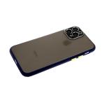 Задняя крышка Iphone XS Max 6.5 матово-прозрачная с металлической окантовкой камеры, темно-синя