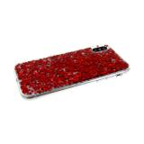 Силиконовый чехол Huawei Honor 9 прозрачный, крупные блестки красные