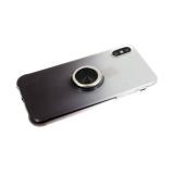 Силиконовый чехол Huawei Y5 2019 прозрачный с переходом, с кольцом, черный