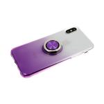 Силиконовый чехол Huawei Y5 2019 прозрачный с переходом, с кольцом, фиолетовый