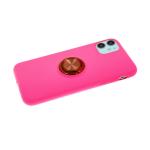 Силиконовый чехол Xiaomi Redmi Note 8T Soft touch с металлическим кольцом, ярко-розовый