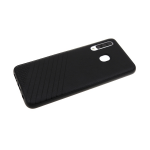 Силиконовый чехол Samsung Galaxy A71 Эко-кожа с линиями, черный борт, черный