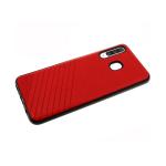 Силиконовый чехол Huawei Honor 8A Эко-кожа с линиями, черный борт, красный