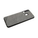 Силиконовый чехол Samsung Galaxy A01 Эко-кожа с линиями, черный борт, серый