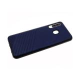 Силиконовый чехол Xiaomi Redmi Note 7 Эко-кожа с линиями, черный борт, темно-синий