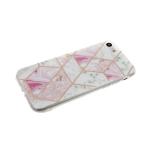 Задняя крышка Xiaomi Redmi 7 геометрические фигуры, прозрачный борт, бело-розовая