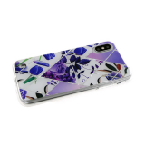 Силиконовый чехол Samsung Galaxy A30s/A50 геометрические фигуры, пр. борт, с рис. цветов, фиолетовый